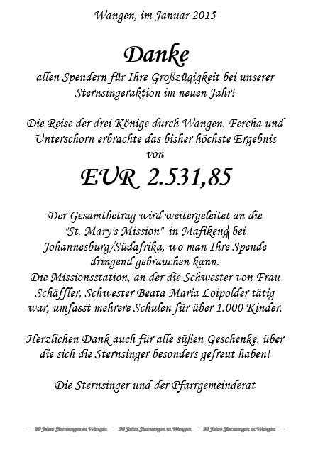 Sternsinger-Ergebnis 2015
